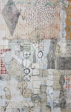Eva Isaksen - Works on Canvas Words On Canvas, Collage Art Mixed Media, Artwork Display, Art Journal Pages, Gravure, Art Sketchbook, Illustration Art, Creative Illustration, Textile Art