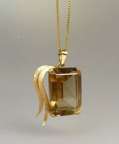 Vintage 14K Gold Topaz Quartz Pendant Necklace by jujubee1 on Etsy