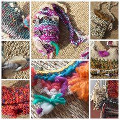 CARTERAS TEJIDAS. collares: lana y materiales textiles reciclados