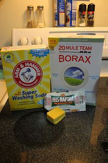 Homemade Laundry Soap - the recipe I used.  I cut back to only 1 gallon of water (1/2 to boil and add the Borax, washing soda, and Fels Naptha {which was easier to chop than anything else} and the other 1/2 gallon of water to cool the boiling solution).  I also added about 1/3rd of a cup of Dawn (name brand only, nothing else cuts grease the same way) because I had read on one solitary blog about how you either need Dawn or Oxiclean to lift the grease stains and oil from clothes.