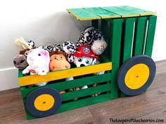 Wood Crate Tractor Toy Box - transform a wood crate into an awesome tractor - gifts for kids - upcycle - kids room decorations