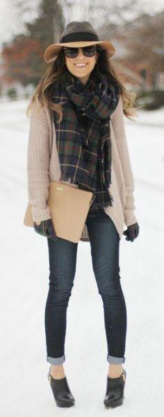 #winter #fashion / tartan scarf + beige coat #flatlay #flatlays #flatlayapp www.flat-lay.com