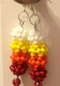 These earrings are made from beaded beads/balls joined together. In this Instructable (by first btw) I will be running through how to make and join these balls so you can make a pair of my very own Fireball Drop Earrings. I'm using a colour theme that symbolises FIRE! Thanks for taking interest in my design :)