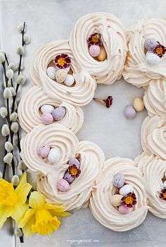 Needs a pile of fresh fruit in the centre, cream under the eggs, then perfect Easter centrepiece dessert