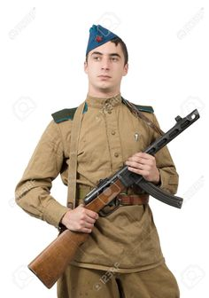 Young Paratrooper Soviet Soldier With Machine Gun, Ww2 Stock Photo, Picture And Royalty Free Image. Image 65572535.