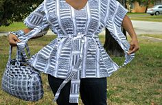 Black And White African  Print Blouse by ZabbaDesigns on Etsy, $35.00