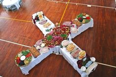 I love this Table idea for family reunion, weddings, or parties by elaine