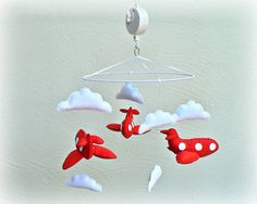Musical airplane mobile  Tomato red felt by LullabyMobiles on Etsy, $218.00