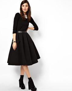 ASOS Premium High Waist Full MIDI Skirt in Bonded Crepe Black