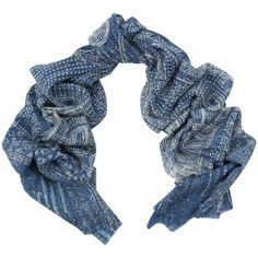 Tilo Blue Printed Wool Scarf ($125) via Polyvore featuring accessories, scarves, blue, wool scarves, woolen scarves, wool shawl, tilo scarves and woolen shawl