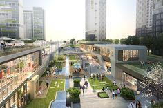 일간투데이 Green Architecture, Amazing Architecture, Landscape Architecture, Architecture Design, Terrace Building, Plaza Design, Commercial Street, Shopping Street, Commercial Architecture