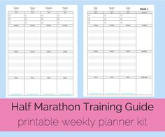 Items similar to Half Marathon Training Guide, Weekly Planner, Printable Workout Log, Exercise Log on Etsy Printable Planner Pages, Printables, Half Marathon Quotes, Week Planner, Half Marathon Training Plan, Workout Log, Printable Workouts, Just Run, Priorities