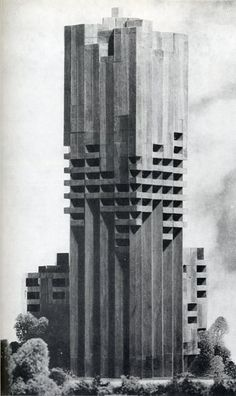 This building is a concrete prison. Called Gian Paolo Valenti made in This is a Brutalist Architecture building I can tell by the shapes and the structure of the building. Architecture Design, Concrete Architecture, Architecture Drawings, Futuristic Architecture, Amazing Architecture, Architecture Diagrams, Architecture Portfolio, Architecture Definition, Sustainable Architecture