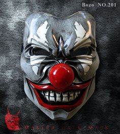 Bozo Mask 201 Grey Mean Clown Joker Fiberglass by TheDarkMask Mascaras Halloween, Halloween Masks, Samourai Tattoo, Galas Photo, Oni Mask, Paintball Mask, Arte Dc Comics, Clown Mask, Creepy Clown