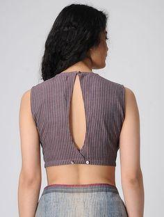 Purple Handloom Cotton Blouse - All About Cotton Saree Blouse Designs, Fancy Blouse Designs, Indian Blouse Designs, Stylish Blouse Design, Designer Blouse Patterns, Couture, Blouse Online, Lehenga, Sarees