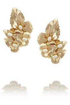 Rosantica Daisy gold-dipped pearl clip earrings | NET-A-PORTER