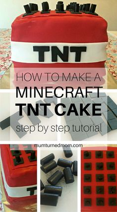 How to Make a MINECRAFT TNT Cake: easy, step by step tutorial to make a Minecraft TNT Block Cake for all your Minecraft fans! Tnt Minecraft, Minecraft Birthday Cake, Easy Minecraft Cake, Disney Minecraft, Minecraft Crafts, Cake Birthday, Minecraft Skins, Minecraft Buildings, Minecraft Cupcakes
