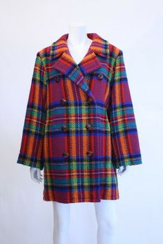 7f13a795085 1980s YVES SAINT LAURENT Plaid Wool Coat - riceandbeansvintage Wool Coat,  Vintage Designs, Rice