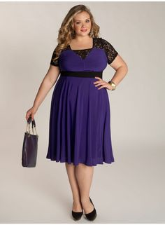 The Chantelle Dress in Heliotrope from Igigi is a flattering, effortless-to-wear favorite. Fully lined, the fit and flare silhouette features sheer lace on the bodice and a black empire waist that gives it an hourglass drape.