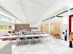 SOM breaks ground on New York's First Net Zero Energy School,Classroom © SOM Classroom Design, School Classroom, Primary School, Elementary Schools, Lofts, New York One, Green School, Learning Spaces, Architecture Design