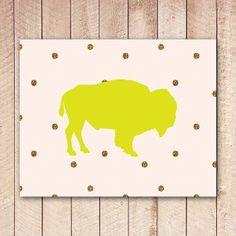 Buffalo Printable Art Print, Neon Yellow, Gold Glitter Dots, Whimsical Wall Art, Printable Decor