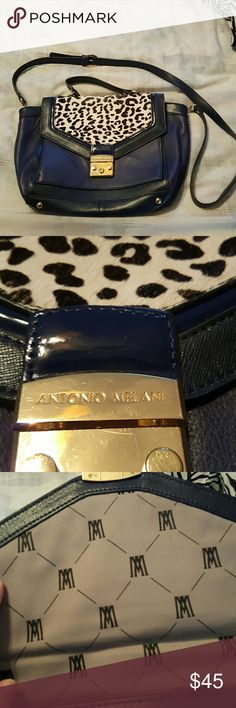 """🔥REDUCED🔥 Blue Antonio Melani Animal Print Purse Lenth: about 14.5""""  Seam to seam length: 10.5"""" Height: about 9"""" Width: about 4.5  Has two straps. Very nice condition. ANTONIO MELANI Bags Totes"""