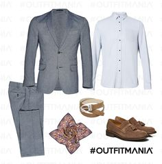 """Dandy metropolitano   Nuance del grigio abbinate ai toni caldi del """"camel"""", camicia senza cravatta e vezzo floreale e caratteristico al taschino...   #outfitmania #outfit #style #fashion #dresscode #amazing #shirt #sisley #pants #suit #gorgeous #job #etro #pochette #blazer #parties # cocktail   CLICCA SULLA FOTO PER SCOPRIRE L'OUTFIT E COME ACQUISTARLO"""
