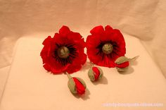 DIY Paper Poppy flowers tutorial: 30 Steps how to make a poppy of crepe paper