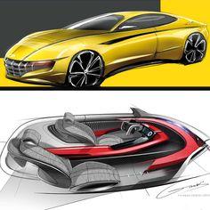 Minwoong Im , designer at Nissan Car Interior Sketch, Car Design Sketch, Car Sketch, Designs To Draw, Cool Designs, Car Detailing, Design Model, Concept Cars, Nissan