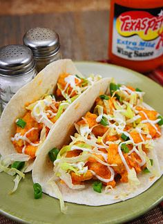Buffalo Chicken Tacos: So good! I made this with lettuce, green onion, ranch dressing, and bacon pieces. I'm going to make it for the second time with lettuce, green onion, crumbled bleu cheese, and bleu cheese dressing. YUM!
