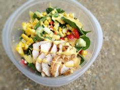 Lunch: Honey Mustard Chicken Salad: vegetable base (3 large handfuls mixed greens, ½ cup chopped bell pepper, ½ cup chopped cucumber, ½ cup shredded carrot, 6-8 cherry tomatoes=50 calories) + 1 ounce crumbled feta cheese (1/4 cup = 70 calories) + 3 ounces marinated and grilled chicken (90 for chicken alone + 30 for marinade = 120) + 2 tablespoons Ken's Light Honey Mustard Dressing (80) + 1/2 ear of corn, kernels shaved off (50) = 370