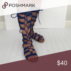 Gladiator Sandals Fabulous Royal Blue Sandals Qupid Shoes Sandals