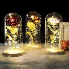 Enchanted Rose, Flower Lamp, Flower Vases, Flores Diy, Rose Dome, Rose In A Glass, Cristal Rose, Forever Rose, Light In
