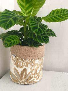 Botanical flower pops hessian planter bag by restoregrace on Etsy