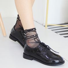 Women Girl Black Harajuku Fishnet Socks Hollow Out Breathable Sexy Pearl Mesh Ankle Socks