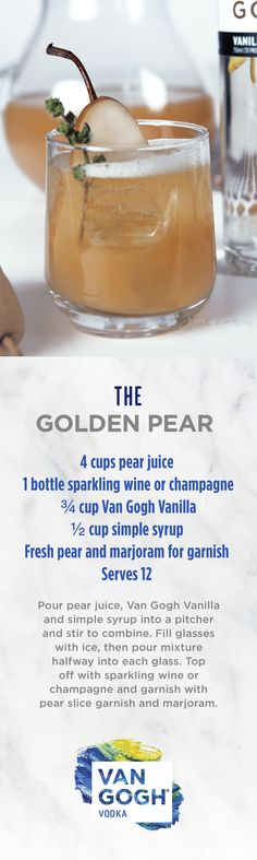 Create the perfect pear cocktail for any award show watch party or delicious happy hour. Using our Van Gogh Vanilla Vodka, our Golden Pear recipe has a unique and crisp flavor ideal for winter. Follow for more seasonal cocktail recipes.