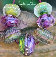 Tropical+Laurasia+Rounds+(7)++Handmade+Glass+Lampwork+Beads+SRA+