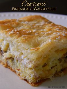 Crescent Breakfast Casserole ~  Like a big buttery breakfast sandwich...mmm...