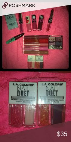 #L.A colors new makeup. 1 HOUR $4.95 ship! !! 2 pout #lip gloss mattes in kiss & tell & sweet lips.  1 pout super shine lip gloss in smooch 1  #eyeshadow #pallet in color mattenificent 1 pair false #eyelashes 5 high shine AMAZING! W/#sheabutter in.... Mingle Dynamite Playful Hyper Dollface 1 volume mascara  2 nail duets as pictured.  2 lipduo matte lipstick & gloss In one tube.... .Eternal flame .Vibe  FREE GIFT WITH ALL PURCHASES AND BUNDLES! ALL TESTED & MUA APPROVED! #PINK #MAC #KATVOND…