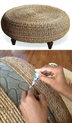 Tire ottoman for screen patio   #recycling   http://bestoutofwaste.org: