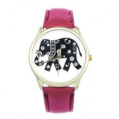FREE-GIFT-BAG-Ladies-Womens-Watch-Pink-Faux-Leather-Strap-Elephant-Gold-Tone #elephant #watch