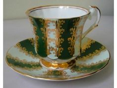 Fancy Elizabethan Green & Gold Cup and Saucer