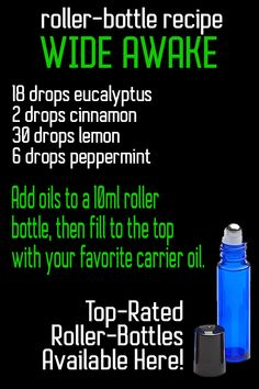 Wide Awake INCLUDES: Quantity of 1 key openers with 8 cobalt blue roll on b Doterra Essential Oils, Young Living Essential Oils, Essential Oil Blends, Edens Garden Essential Oils, Thyme Essential Oil, Doterra Blends, Oregano Oil Benefits, Now Oils, Roller Bottle Recipes