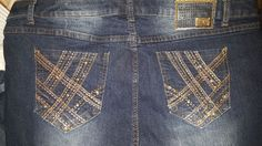 One5One Jeans Stretch 36x24 Flare Rhinestone Bling pockets Gold Fade wash #One5one #stretchFlare