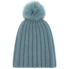 2540eedf77c Danielapi pompom ribbed beanie (1.095 RON) ❤ liked on Polyvore featuring  accessories