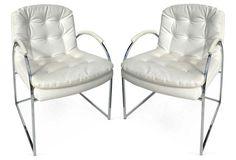 Midcentury Chrome Armchairs, Pair