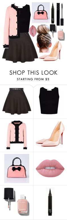 """#vintagechic 50's professional"" by chooseyourstyle321 on Polyvore featuring New Look, Boutique Moschino, Christian Louboutin, Hell Bunny, Lime Crime, Chanel, Gucci and vintage"