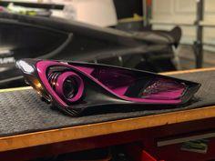 These genesis coupe headlights got a sold purple themed update Custom Headlights, Hyundai Genesis Coupe, Custom Paint, Purple, Car, Automobile, Autos, Viola, Cars
