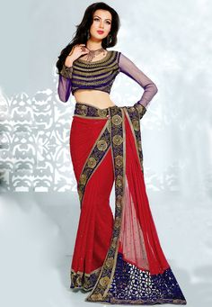Red Faux Chiffon #Saree With Blouse @ $131.63