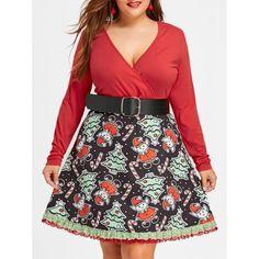 Plus Size Christmas Faux Fur Panel Long Sleeve Knit Dress